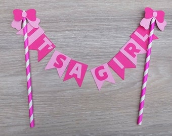 Baby Shower Cake Bunting, Cake topper, it's a girl, Pink, personalized, cake decoration, baby shower