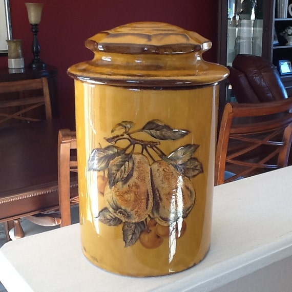 Ceramic Cookie Canister/Jar W Pears on Yellow Mustard