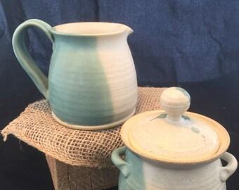 Pottery handmade turquoise creamer sugar set