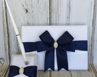 Wedding Guest Book and Pen Set  - NAVY BLUE Satin Ribbon - Ivory/White Wedding Book, Choose your Design