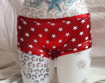 Red shiny stars Roller derby pole dance rave wear hot pants
