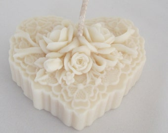 """Candle craft natural Deco Table """"heart of Roses"""""""