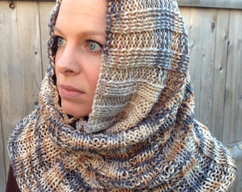 Ladies Knit Cowl Hood (worn two ways)
