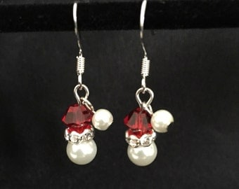 Christmas Earrings - Santa Hat Earrings - Santa Earrings - Christmas Jewelry - Holiday Earrings