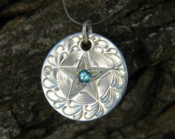 Hand Engraved Sterling Silver Pendant with Texas Star Set Blue Topaz