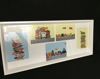 TOY CAR COLLAGE, Matchbox, Hot Wheels, Pictures, Framed, Superawesome!!!