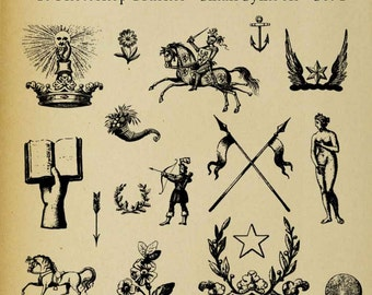 Set of SIXTEEN Photoshop Brushes Icons Symbols Heraldic Family Crest Digi Stamps  Clip Art Download