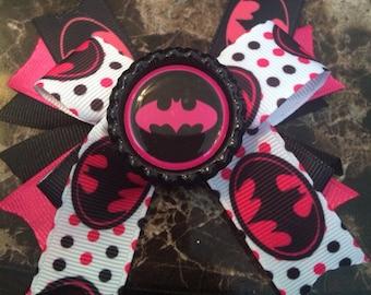 Pink Batman Hairbow