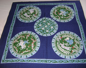 Vintage Furoshiki Large Fabric with Five Different scenes in a Circle on a Blue Background  , Table Cloth, Wall Hangings, Craft Supplies
