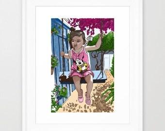 Illustration girl on swing