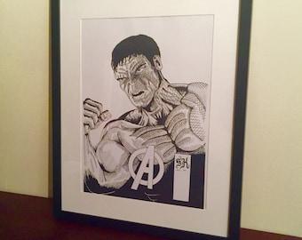 "A3 Framed ""Hulk"" Ink Sketch Print"