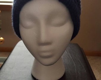Blue slouchy hat in basket weave pattern