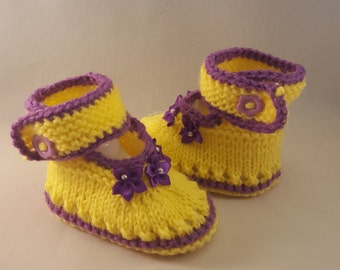 Purple and Yellow Baby Booties, Newborn Outfit - Baby Shower Gift - Newborn Photo Prop - New Dad Gift Newborn photo props photography