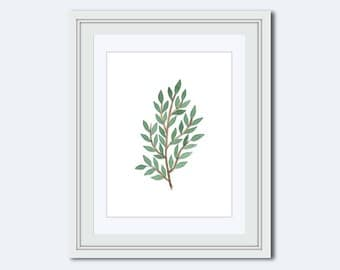 leaf branch print - leaf Wall Art - leaf decor - nature art - wall accents - modern print - Botanical Print - wall art print - Printable Art