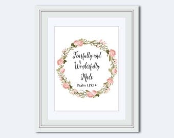 Fearfully and Wonderfully Made - Psalm 139:14 - Scripture Print - nursery print - Bible Verse Print - Christian art print - watercolor art