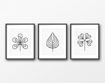 Set of 3 geometric leaves - Botanical home decor - Modern scandinavian design print - Modern minimalist home decor - Gallery wall set print