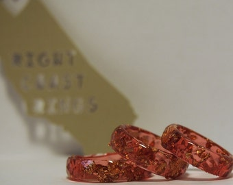 Thin Red and Gold Faceted Stacking Ring