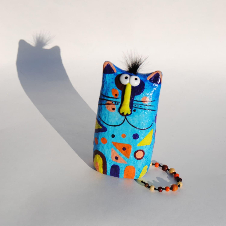 Cat Figurine Paper Mache Sculpture Collectible Cat By