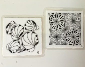 2 set glass coasters