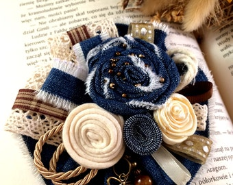 Textile Flower Brooch, Denim, Jeans