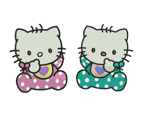 Hello kitty and daniel embroidery design by stitchvalley