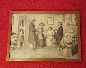 """A. G. Frost Painting Vintage/Antique Original Early 1900's """"Wedding Vowels"""""""