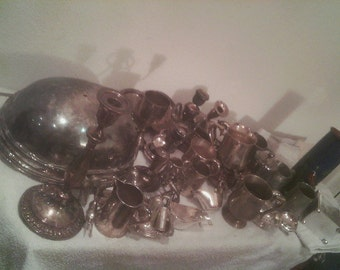 Collection old silver plate
