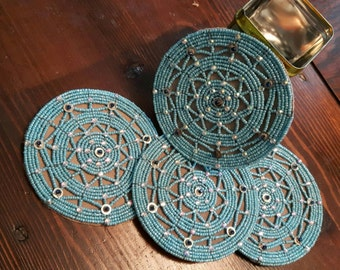 Large handmade tribal fusion bellydance or ATS medallions in light blue with sparkling rhinestones, 10 cm (3,93 inches)