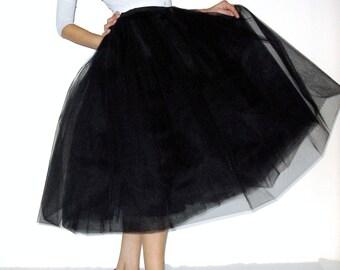 Tulle skirt petticoat black 70 cm