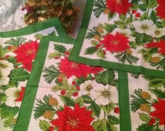 Christmas cloth napkins, vintage napkins, Christmas napkins, Poinsettia napkins, cloth napkin, candle ring, plastic flowers,