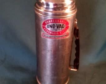 Vintage Thermos, Uno-Vac Thermos, Thermos, Stainless Steel, Stainless Steel Thermos, Uno-Vac Unbreakable, 1960's, 1960's Kitchen, Uno-Vac