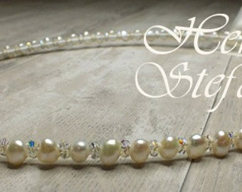 Freshwater Pearl and Swarovski Crystal Stefana - Enchanted Dream