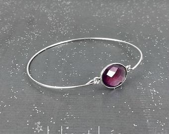 Amethyst gemstone cuff bracelet, sterling silver 925