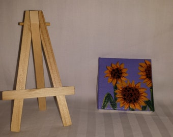 Sunflowers on a mini canvas and easel