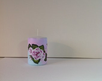Wax candle hand painted with professional quality acrylic paint