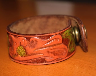 upcylced/recycled embossed and painted leather cuff - floral design in orange