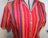 SALE! Vintage 1950s tribal red yellow blue short sleeve button down shirt blouse large 186