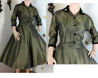 SALE! Vintage 1950s green sharkskin striped taffeta black velvet rhinestone party dress w/ pockets medium 317