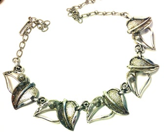 Silver Leaf Necklace-Vintage FREE SHIPPING