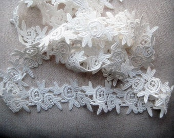 Venise lace, white Rose design, edging lace motif for hair bands, clothes, cards