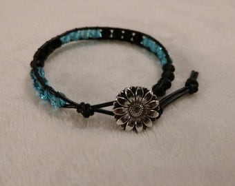 Swarovski Crystal Wrap Bracelet Metal button