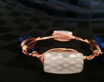 White Dotted/Sparkling Blue Wire-Wrapped  Bracelet