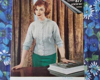 Vintage Wendy Knitting Pattern - 1950's - Pattern no. 877 - Lady's Cardigan - used
