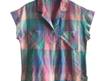 Vintage pastel plaid popover top