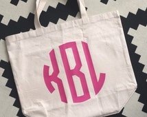 Personalized Monogram Large Reusable Canvas Shopping Tote with back pockets - 18 color choices