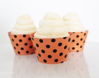 Orange & Black Dot Cupcake Wrappers, Halloween Cupcake Wrappers, Halloween Party Cupcake Wrappers, Halloween Party Supply-Set Of 6,12,16,24+