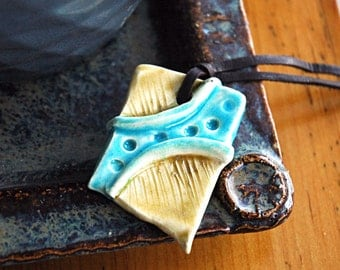 Blue and yellow ceramic pendant necklace