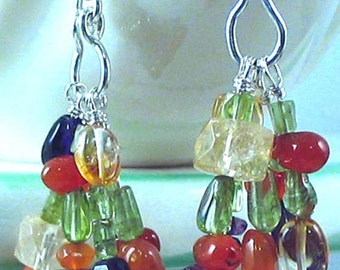 GEMSTONE Wire Wrapped CLUSTER EARRINGS w/Sterling Silver
