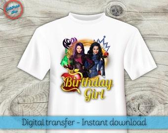 Descendants t-shirt, Descendants iron-on, Descendants Mal and Evie t-shirt, Descendants birthday girl, Mal and Evie birthday girl!