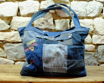 Great bag, for woman, jean and embroidery motifs accordion, music